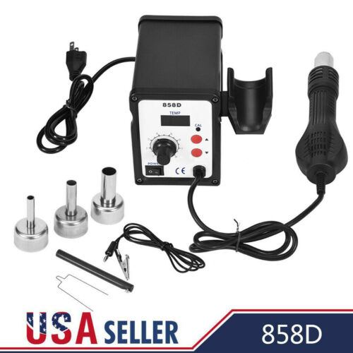 858D Soldering Rework Station Iron Desoldering Hot Air Gun Tool W// 3 Nozzles US