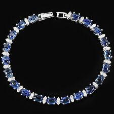 Sterling Silver 925 Genuine Natural Kyanite & Lab Diamond Bracelet 7 Inches