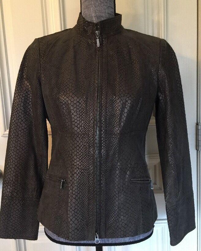 Alfani  damen Suede Leather Jacket Duville Suiting Chocolate Größe Smell