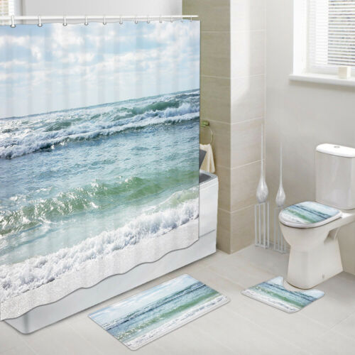 Details about  /Waves and White Sand Shower Curtain Toilet Cover Rug Mat Contour Rug Set