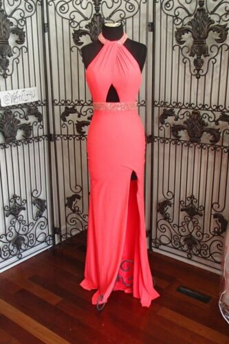 SR674 MORI LEE 98108 SZ 12 NEON PINK BRIDESMAID PROM FORMAL GOWN DRESS
