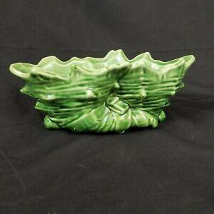 McCoy Pottery Double Cornucopia Planter Vase Twin Shell Green 1956
