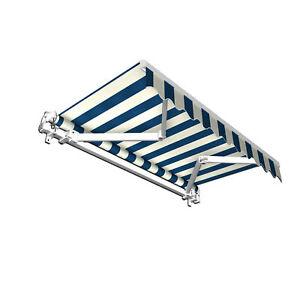 Markise-Sonnenschutz-Gelenkarmmarkise-Handkurbel-250x150cm-Blau-Weiss-B-Ware