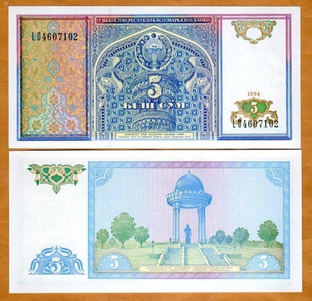 Uzbekistan, 1994, 5 Sum, P-75, Gem UNC