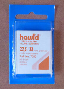 HAWID-STAMP-MOUNTS-CLEAR-Pack-of-50-Individual-27-5mm-x-33mm-Ref-No-7050