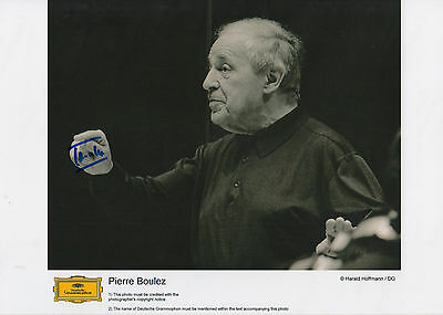 Classical, Opera & Ballet Intelligent Pierre Boulez Signed 8x12 Inch Photo Autograph Activating Blood Circulation And Strengthening Sinews And Bones