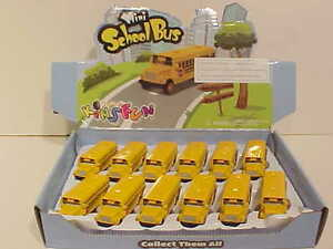12-Pack-School-Bus-Long-Nose-Die-cast-1-72-Kinsfun-2-5-inch-Yellow-with-Keychain