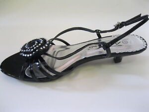 Anne-Michelle-L3991-Ladies-Black-PU-Kitten-Heel-Sandals-w-Buckle-UK6-R40B-Kett
