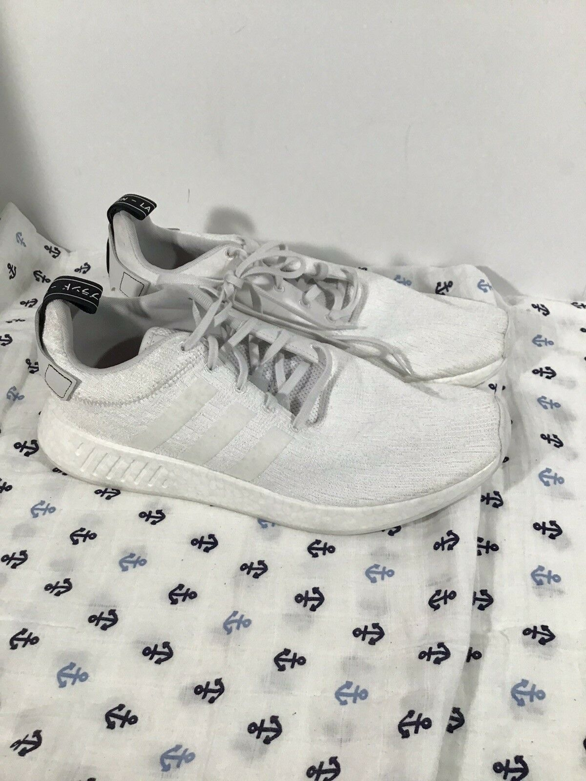 Men's Adidas NMD R1 Trace White Boost Running Sneaker Size 13