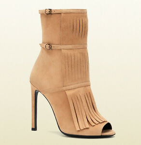 b7fa32f161e0  995 GUCCI BOOTS BECKY BEIGE SUEDE OPEN TOE FRINGE BOOTIES sz 38   8 ...