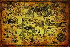 The Legend Of Zelda Hyrule Map Poster Mehrfarbig