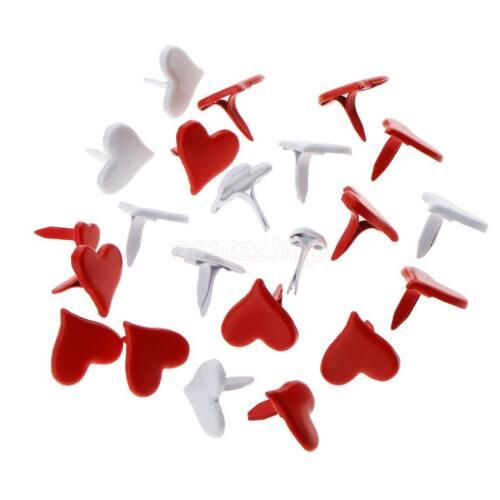 100 stücke 11mm Herzform Metall Brads Papier Befestigungen für