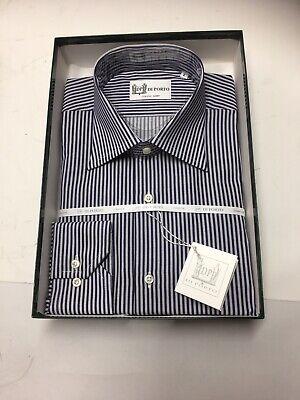 35 Made in Italy Di Porto Mens Italian Dress Shirt Dark Blue Striped L 16.5