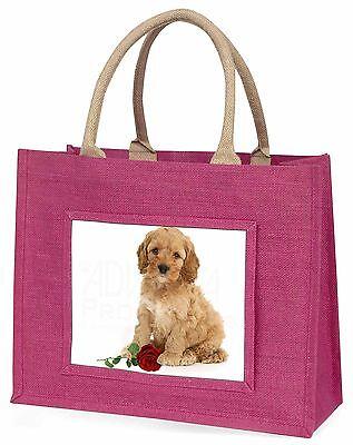Cockerpoodle Welpe mit rotem Rose Große Rosa Einkaufstasche Weihnachten P,