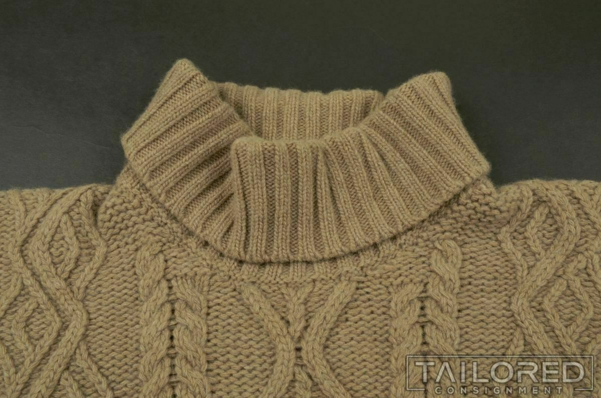 INIS MEAIN Solid Brown Cashmere Wool Woven Cablek… - image 3