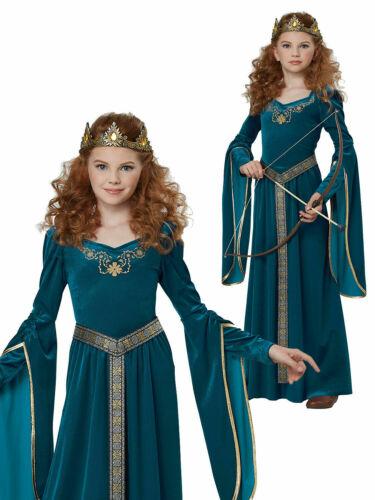 Girls Medieval Princess Costume Childs History Queen Fancy Dress Kids Outfit
