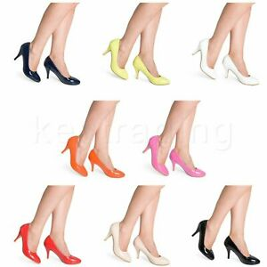 Womens-Ladies-Low-Med-Kitten-Heel-Office-Formal-Court-Shoes-Size-2-3-4-5-6-7-8