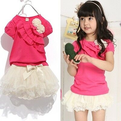 Kids Toddlers Girls Shirts And Multi-Layer Tulle Skirt Sets Two Piece 1-5Y S204