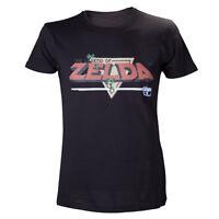 Official Nintendo Legend Of Zelda Retro 8-bit Logo Black Short Sleeved Tshirt