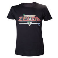 Official Nintendo Legend Of Zelda Retro 8-bit Logo Black Short Sleeved Tshirt
