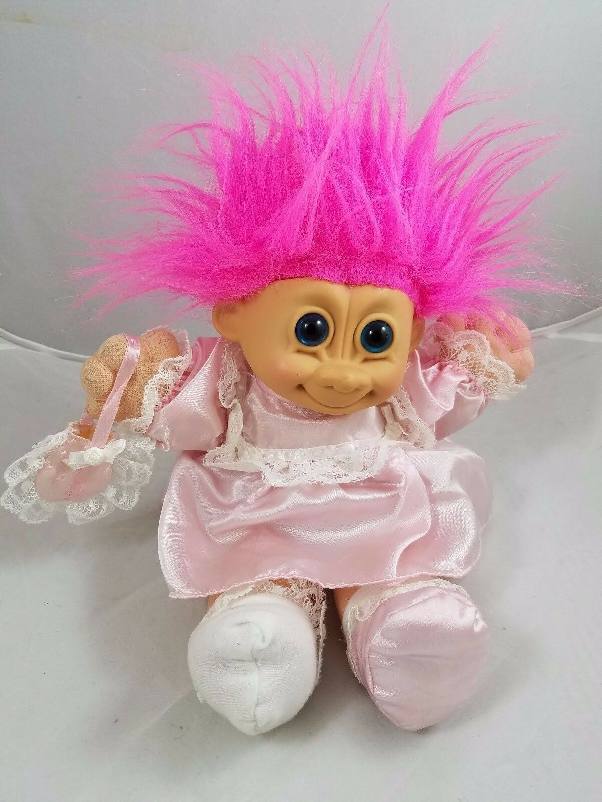 Vintage 12  RUSS BERRIE TROLL KIDZ DOLL 2325 PINK DRESS GIRL PLUSH 1990s STUFFED