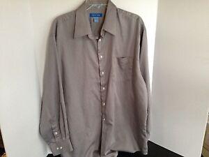 Savile-Row-Men-039-s-17-1-2-34-35-XL-Long-Sleeve-Grey-Dress-Shirt