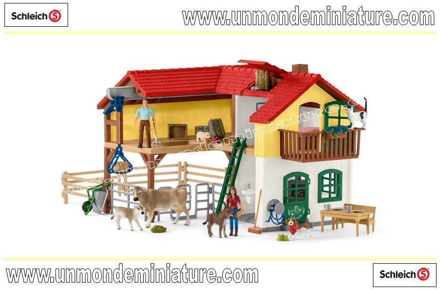 Ferme avec étable et animaux SCHLEICH - SC 42407 Dimensions: 70 x 33 x 45 cm