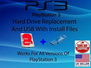 """PS3 Replacement Internal 500GB 2.5"""" Hard Drive with USB DIY Sony PlayStation 3"""
