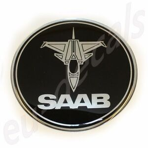 63-5mm-2-50-034-JET-plane-SAAB-BLACK-Chrome-Rear-Badge-Emblem-aero-9-5-9-3-3D-decal