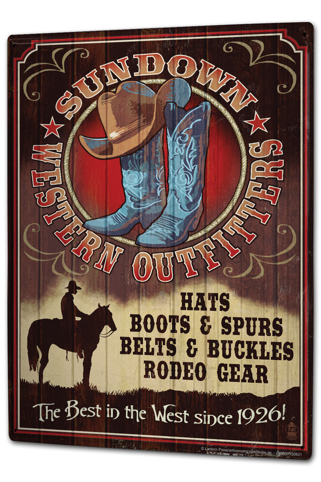 Tin Sign XXL Home Office Cowboy equipment Professional Title