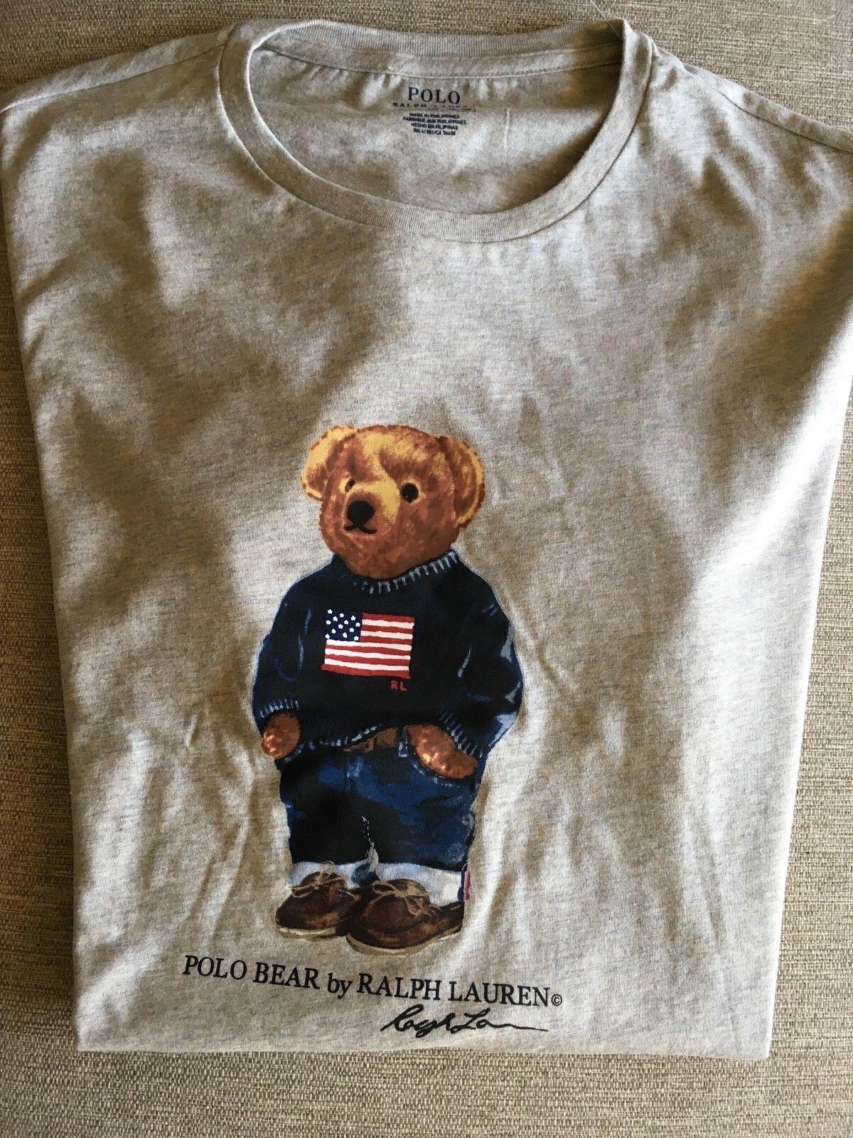 NWT RALPH LAUREN POLO BEAR T SHIRT SWEATER JEANS USA FLAG SHORT SLEEVE grau L