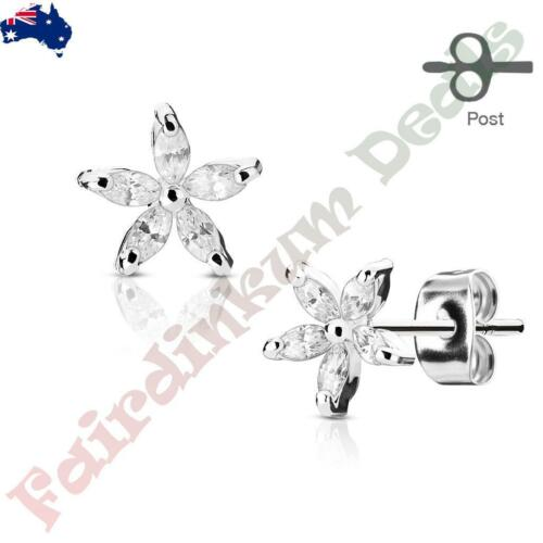 Surgical Steel Silver Ion Plated Stud Earrings with 5 Marquise CZ Gem Flower