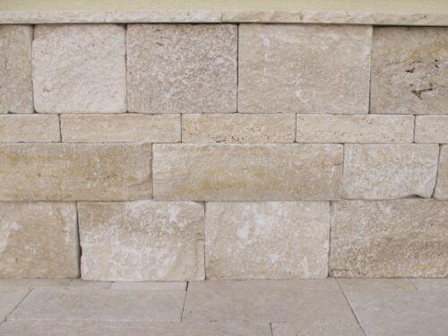 Gartenmauer Natursteinmauer Mauerstein Travertin Medium Great Wohnrausch 1Stück