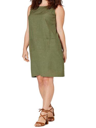 Plus Size capsule kaki mélange de lin sans manches Shift Dress-Taille 14-24