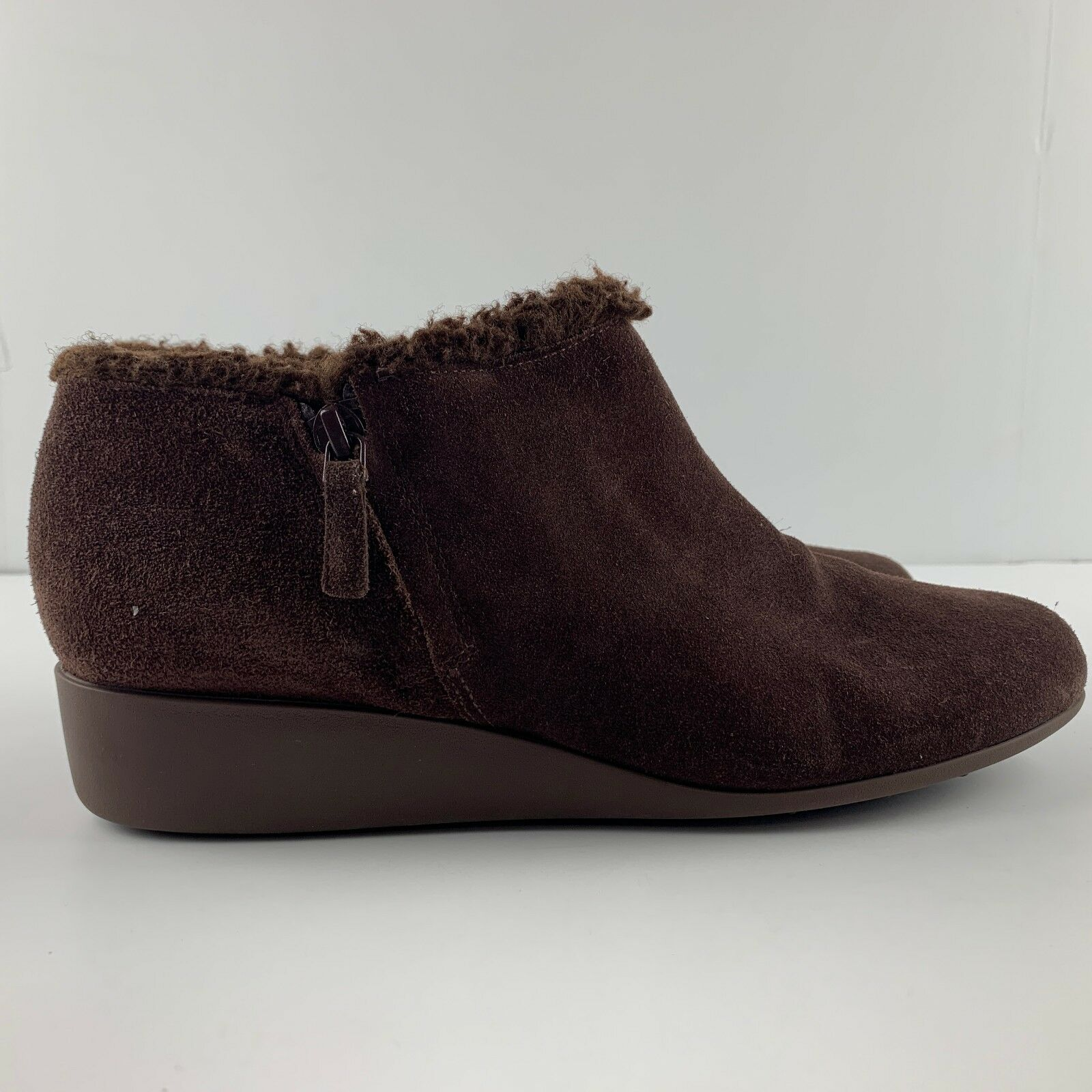 Cole Haan Signature Grand OS Women 9 B Brown Suede Wedge Bootie Side Zip D42377