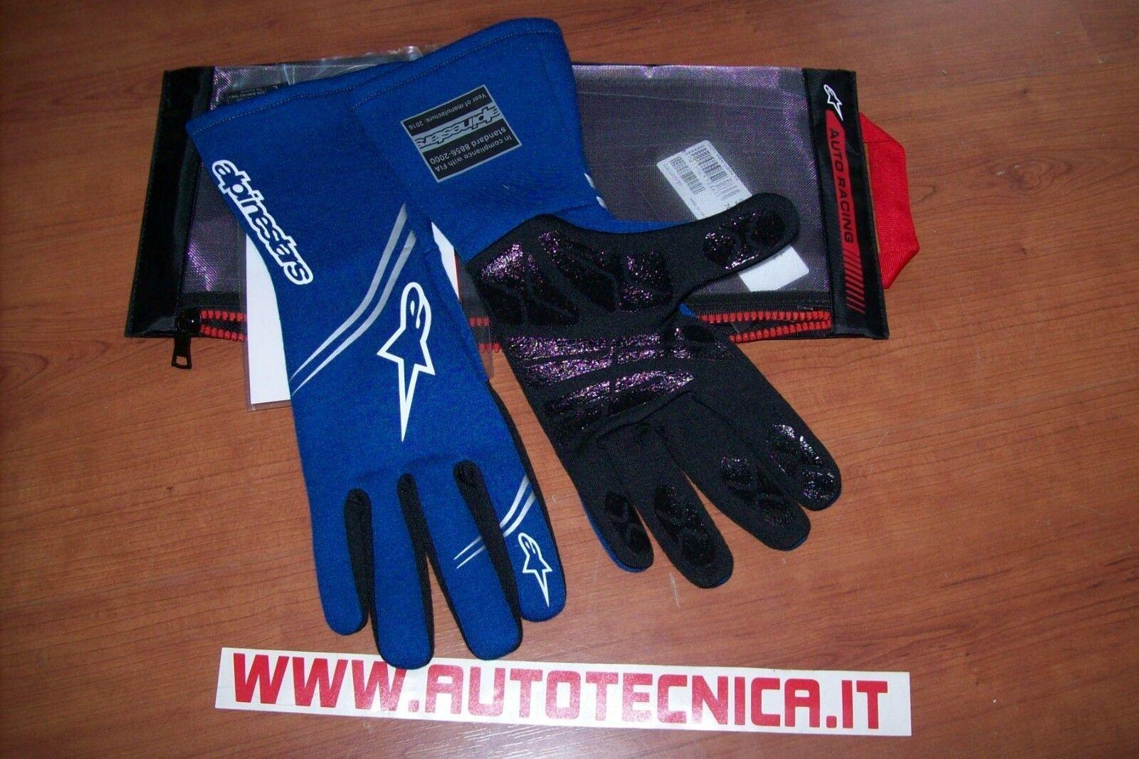 Guanti auto rally pista Alpinestars Tech 1 Start tg L blue omolog. Fia 8856 2000