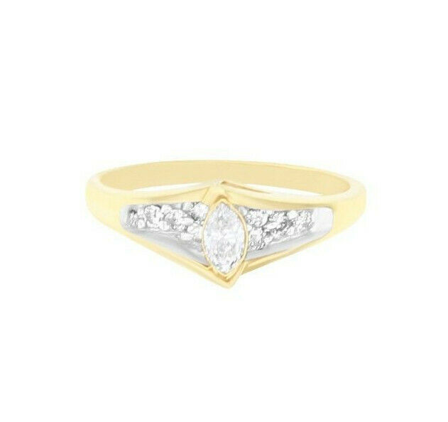 Marquise Natural Diamond 14k Yellow Engagement Ring - .33cttw - size 6.25