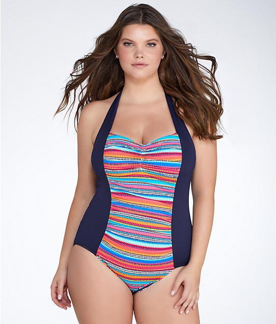 NWT Anne Anne Anne Cole Swimsuit Bikini 1 one piece Plus Sz 18W Halter Multi 522d7c