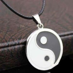 Collar-y-Colgante-banado-de-plata-Yin-Yang-tamano-colgante-10-mm-para-hombre