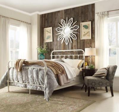 King Size Metal Bed Frame Antique White Headboard Footboard Master Bedroom  New   eBay