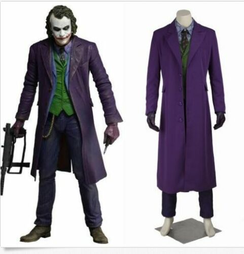 Halloween Mens Cosplay Knight Rise Joker Outfits Movie Costume Suits Long