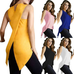 Women-Summer-Loose-Top-Cross-Irregular-Blouse-Ladies-Casual-Tops-T-Shirt-Tee-New