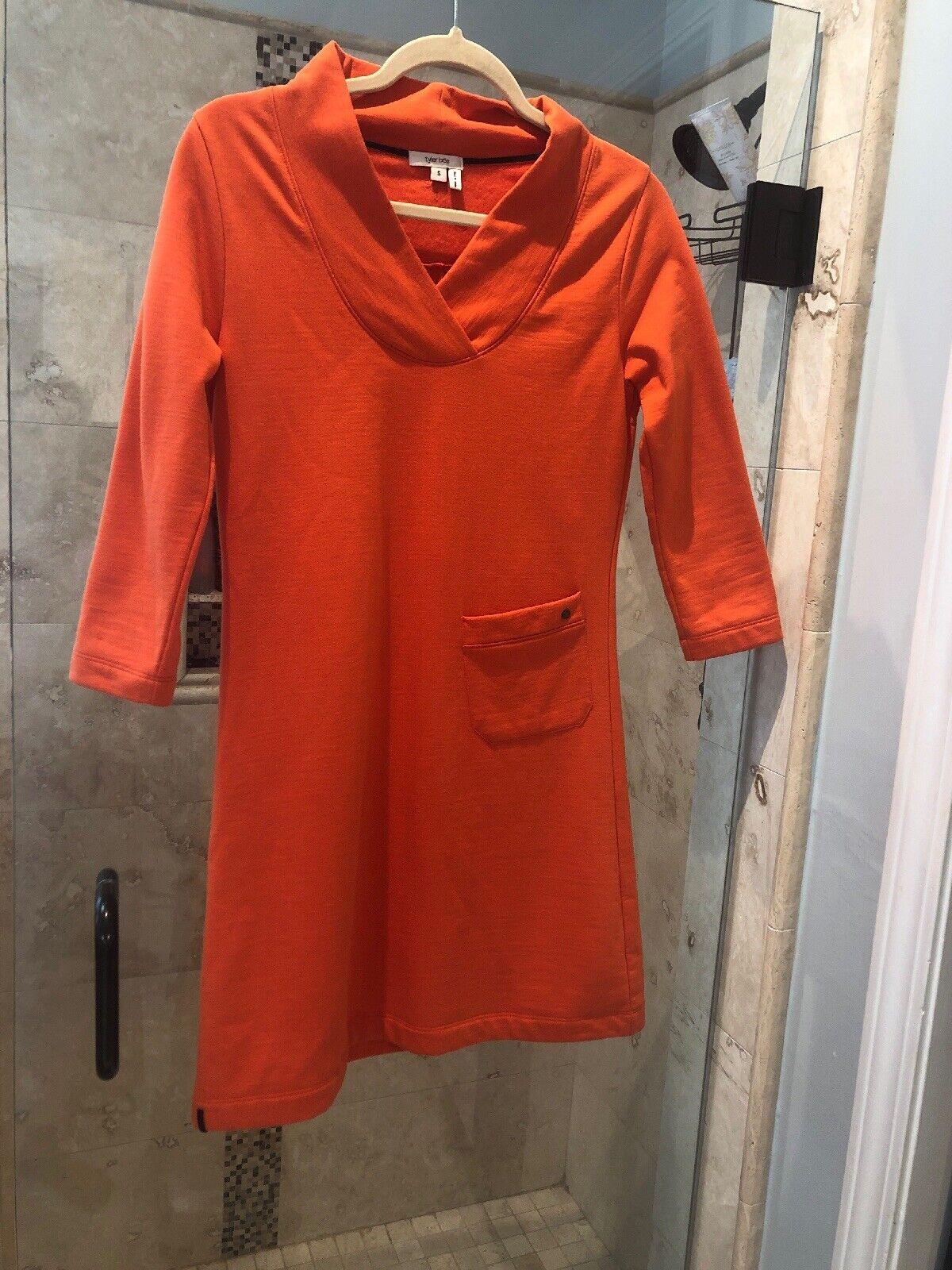 Nwt New Tyler Boe Tangerine Summer  Rugby Skimmer  3 4 Sleeve Dress S New