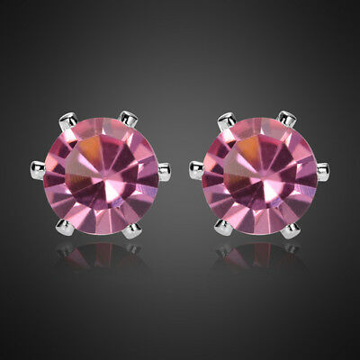 Fashion Lady Pink Sapphire Topaz Pear 18K White Gold Plated Gp Stud Earring