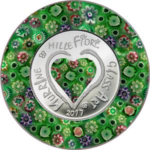 2017 Cook Islands 5 Dollars 20 g Silver .999 Murrine Millefiori Glass Art