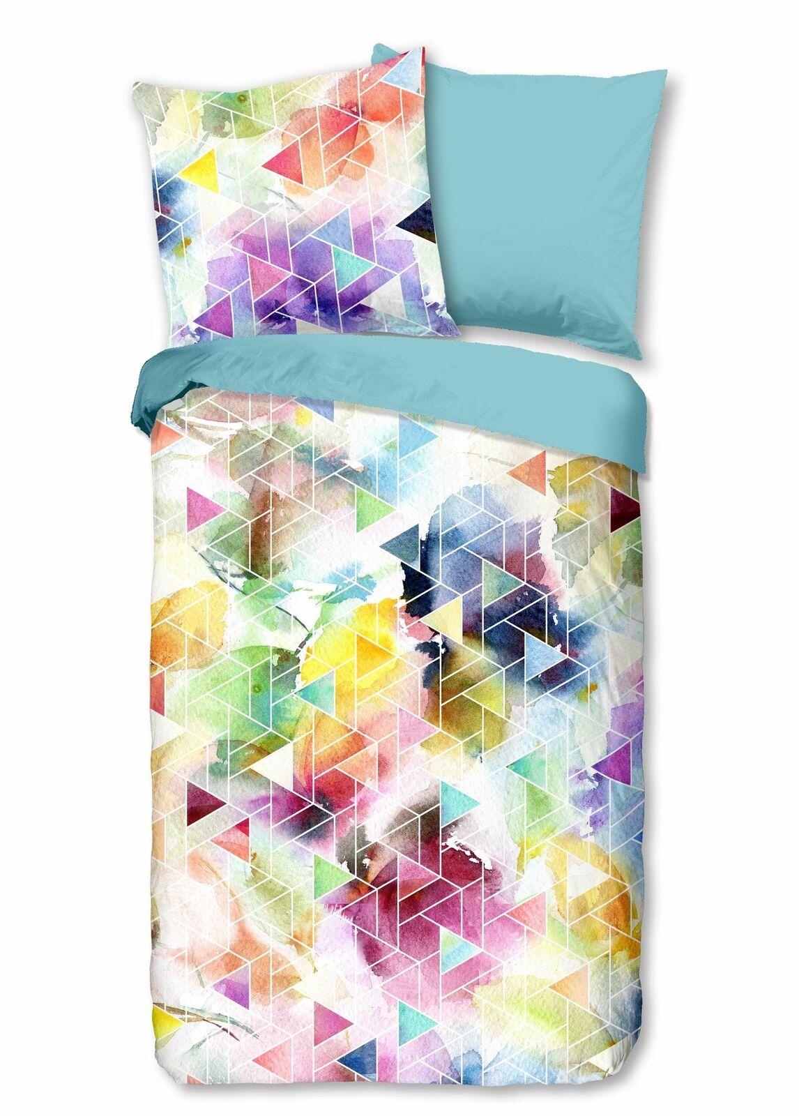 4 teilige Bettwäsche 135x200 cm Geometrisch pastell hellblau bunt Baumwolle Set