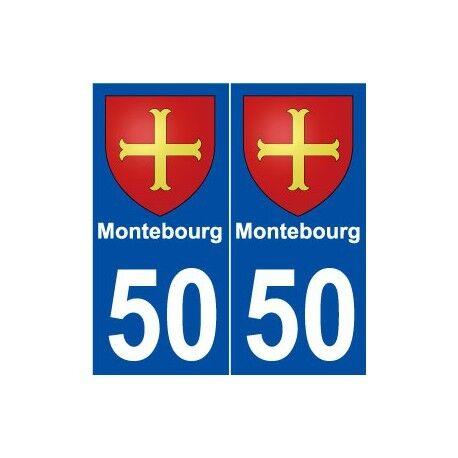 50 Montebourg blason autocollant plaque stickers ville arrondis