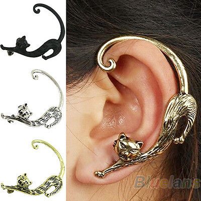 Retro Women Girl Stylish Punk Gothic Copper Cat Pussy Ear Cuff Stud Earring BD5U