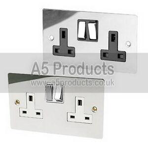 13-Amp-Wall-Double-Plug-Socket-2-Gang-Polished-Chrome-FLAT-Plate-Silver-Effect