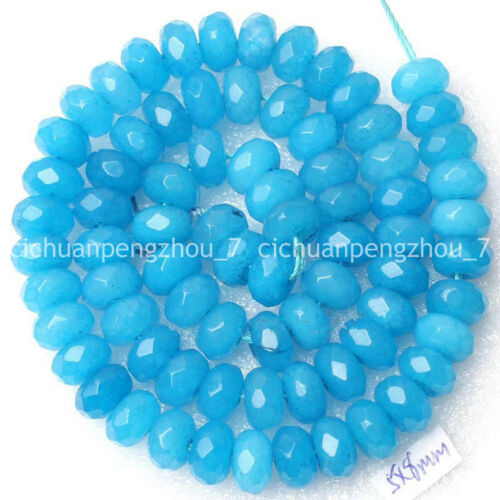 Faceted 5x8mm azure Blue Jade Gemstone Rondelle Loose Beads 15 inches